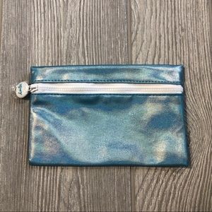 Blue holo Ipsy cosmetic makeup bag
